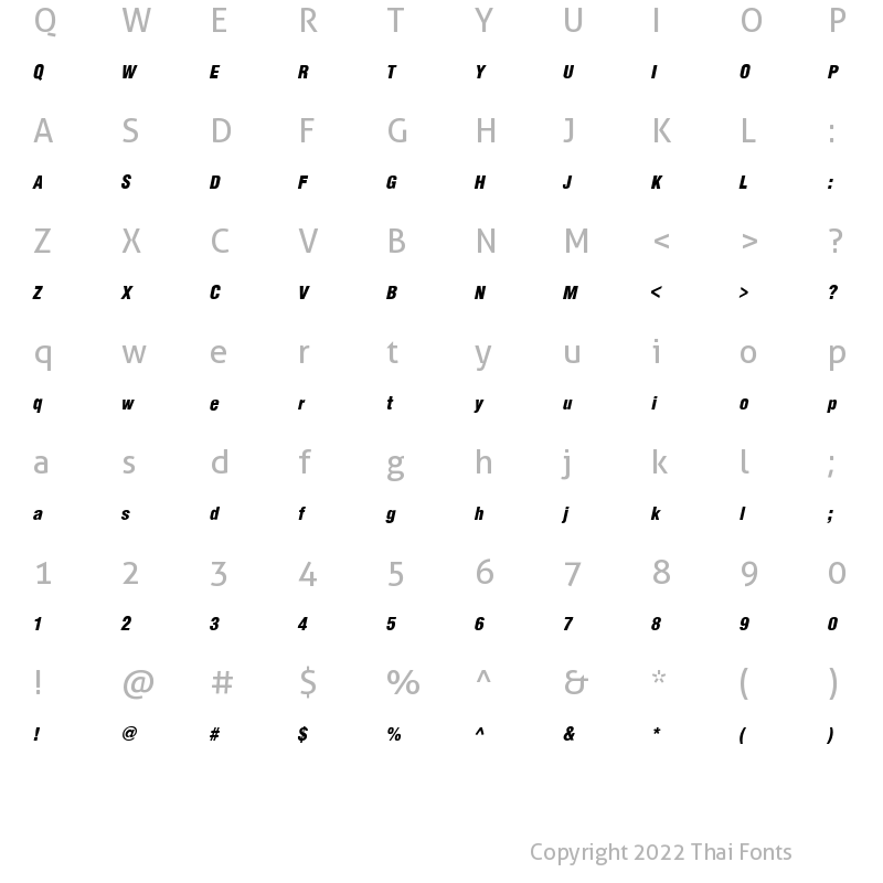 Character Map of JS Amphan Italic